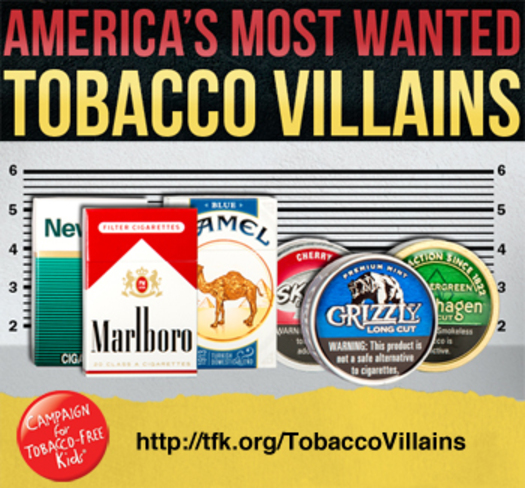 """PHOTO: The most popular (and most widely advertised) tobacco brands are known as """"America's Most Wanted"""" by the Campaign for Tobacco-Free Kids. Courtesy of Campaign for Tobacco-Free Kids."""