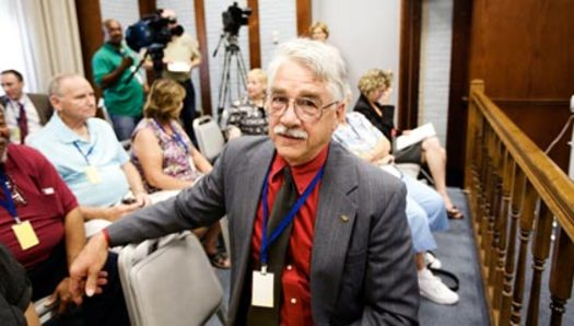 PHOTO: AARP volunteer Dean Clough attended the ICC rate hike hearing. Photo credit: Jennifer Silverberg.