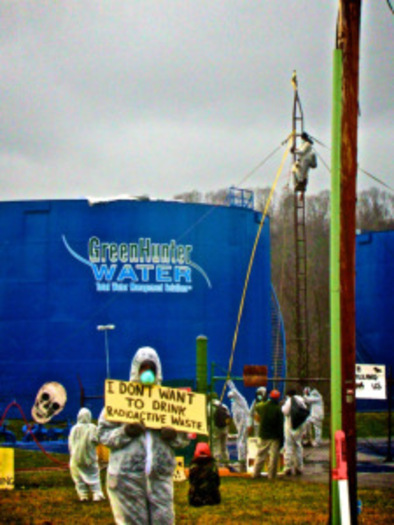 PHOTO: Members of Appalachia Resist! are protesting plans that would allow fracking waste to be shipped by barge on the Ohio River.