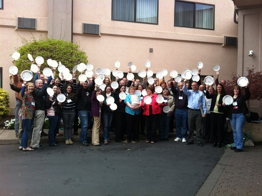 PHOTO: More than 1,000 paper plates are being distributed to Oregon legislators today, all with messages about hunger. Photo credit: Deborah C. Smith