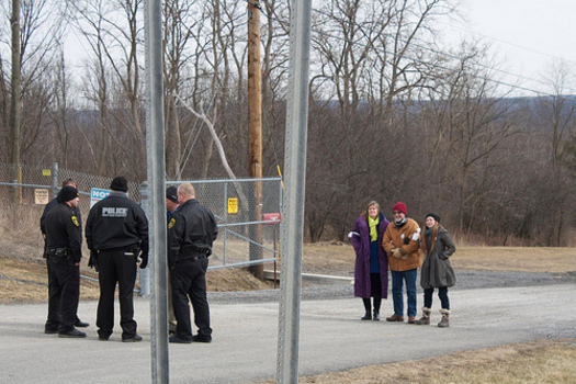"""PHOTO: Members of the """"Seneca 12"""" blocked trucks from entering and leaving a gas storage facility in Reading last month, to protest what they see as a plan to make the Seneca Lake area a hub for the storage and transportation of fracked gasses. Courtesy Emily Wilson, NYGreenUmbrella."""