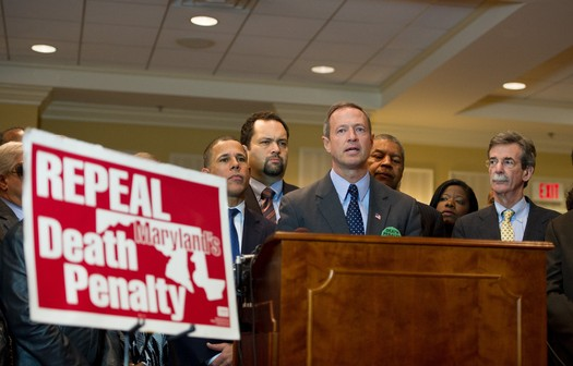 PHOTO: Maryland Governor Martin O'Malley signs death penalty repeal today (Thursday). Photo credit: Executive Office of the Governor