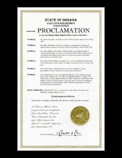 "Image: Proclamation from Governor Mike Pence naming May ""Indiana Older Americans Month."""