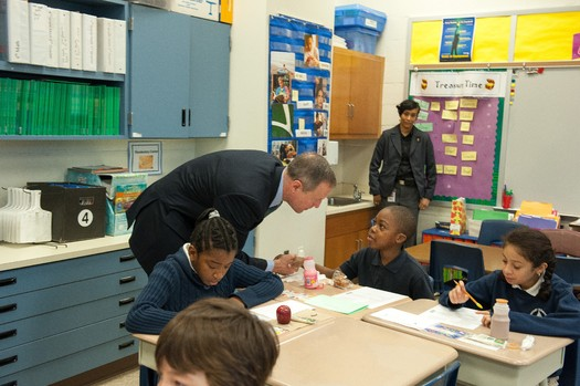 PHOTO: Governor Martin O'Malley talks to kids eating breakfast at Eastport Elementary. Photo courtesy: Executive Office of the Governor