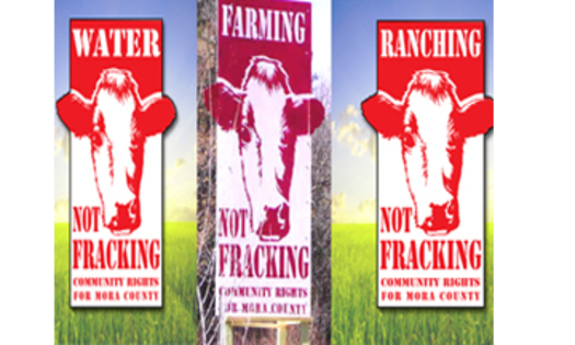 Image:  Mora County is the first county in the U.S. to pass a community rights ordinance to ban drilling and fracking. Image credit: NM Coalition for Community Rights. Graphic Artist: Manuel Michalski