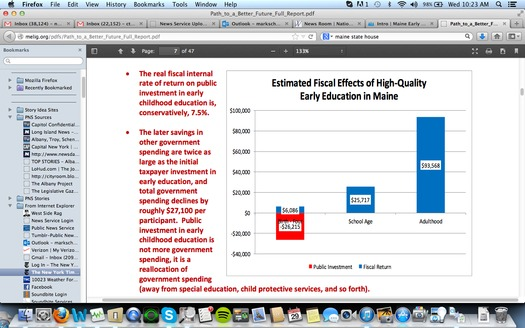 GRAPHIC: The fiscal benefits from high-quality early childhood care and education are being addressed currently from the White House to the State House in Augusta. Advocates in Maine are using new research to press for investment in early learning in the private and public sectors. Courtesy MELIG.