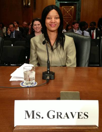 PHOTO: Sex trafficking survivor Asia Graves shared her story with a congressional committee  investigating the exploitation of children in foster care. Courtesy of FAIR Girls.