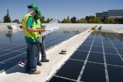 Walmart is installing solar power generating systems in several locations in California and Arizona. The majority of these sites will utilize thin film panels as seen on this Mountain View, Calif. store.  Image courtesy of Walmart