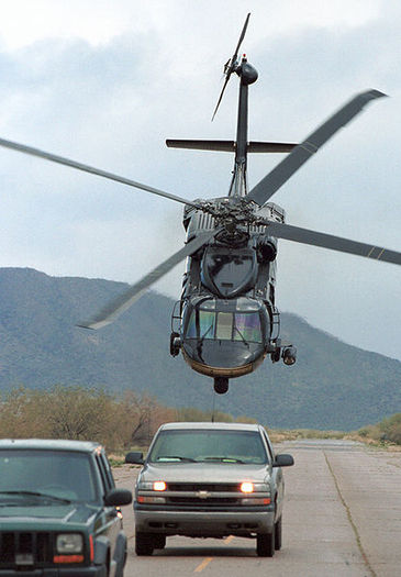 Photo: U.S. Customs and Border Protection Blackhawk helicopter pursues suspects on the U.S.-Mexico Border. Courtesy: U.S. Department of Homeland Security