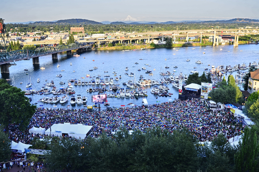 PHOTO: Music-lovers from around the world converge on the downtown Portland waterfront over the July 4th weekend for music and fireworks at the Waterfront Blues Festival. Credit: Joe Cantrell for Oregon Food Bank.