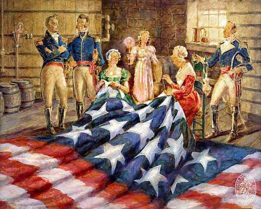 "PHOTO: The Maryland Historical Society is recreating the Star-Spangled Banner flag with the same materials originally used by Mary Pickersgill 200 years ago. Photo credit: ""Mary Pickersgill Making the Flag.� Oil on canvas by R. McGill Mackall, MdHS, 1976.80.61"