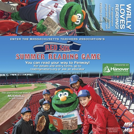 PHOTO: Friday is the deadline for entering the the Massachusetts Teachers Association Red Sox Reading Game, which is open to all kindergarten through eighth grade students in the state. Students who pledge to read nine books can enter into a drawing to win free tickets to a game at Fenway Park. Photo courtesy Rick Friedman and Keiko Hiromi.