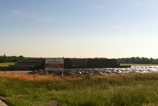Pipeyard set up by Enbridge near Amsterdam, MO      Photo Courtesy of Danny Ferguson