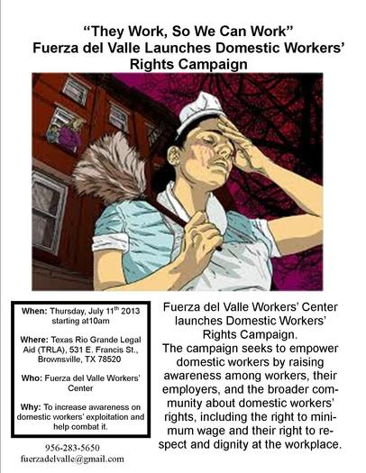 IMAGE: A campaign to educate employers and domestic workers in Texas about labor laws kicks off today (Thursday) at a gathering in Brownsville. Organizers say domestic workers are due, but don't always receive, the same job protections as others. CREDIT: Fuerza del Valle Workers' Center