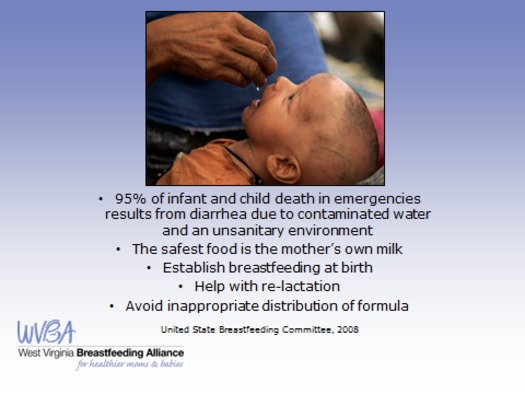 GRAPHIC: The West Virginia Breastfeeding Alliance says in emergencies, the best food source for a nursing infant is its mother. Courtesy WVBA.