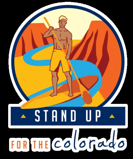 """IMAGE: Outdoor Retailer Summer Market attendees are being urged to try a stand-up paddleboard – and to """"Stand Up"""" for the Colorado River. Courtesy Protect the Flows."""
