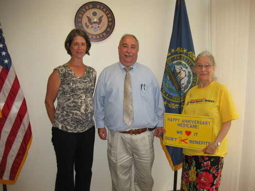 Photo: Advocates celebrate Medicare Anniversary at NH Congressional Delegation offices. Credit: Natasha Perez