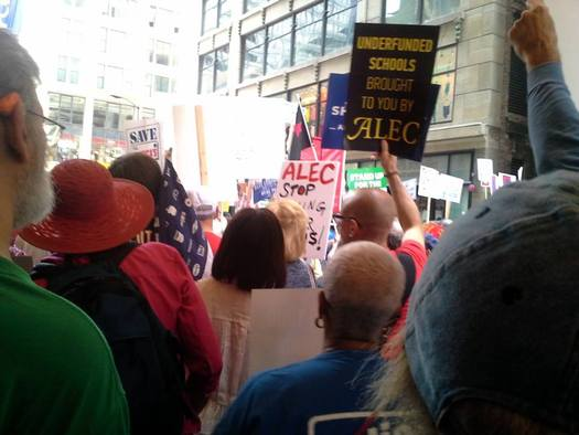 Protesters on Thursday outside ALEC meeting in downtown Chicago   Photo courtesy of: Chicago Federation of Labor