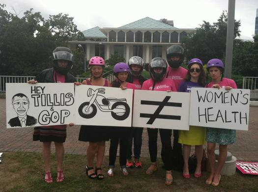 """Photo: Women protest """"Motorcycle Abortion Bill"""". Courtesy: Planned Parenthood of Central North Carolina"""