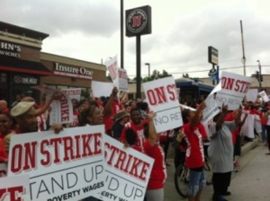 PHOTO: Missouri quick-service restaurant workers stage a one-day strike earlier this month. Courtesy Missouri Jobs with Justice.