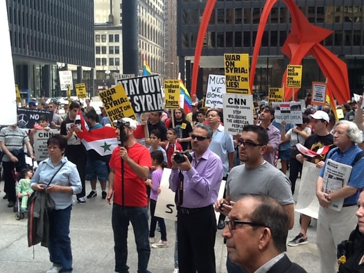 Opponents of a strike on Syria protested outside the Dirksen Federal Building in Chicago Saturday     Courtesy of: AFSC