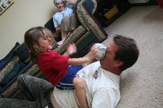 PHOTO: It can seem like little more than controlled chaos, but when it comes to roughhousing � peer to peer, or parent and child � there are numerous benefits. Photo credit: Sharon Mollerus.