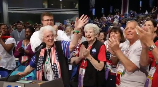 PHOTO: Kay Roberts, 99, here attending the NEA�s Representative Assembly this summer, has represented the Massachusetts Teachers Association at the gatherings for more than 60 years. She's been teaching or helping students since 1937. Courtesy NEA.