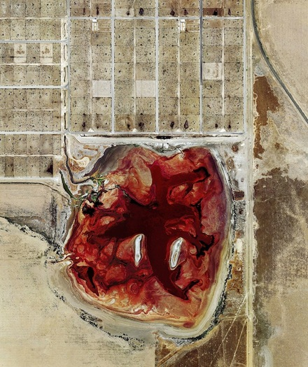 PHOTO: An aerial view of a feedlot. The United Nations' Food and Agriculture Organization says large factory farms are increasing climate-changing pollution. Photo credit: Mishka Henner.