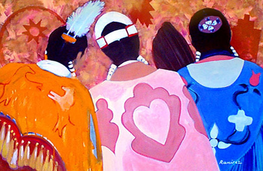 This art work symbolizes the Wisconsin Inter-Tribal Pink Shawl Initiative, a new program to bring breast cancer information to the state's American Indian women.