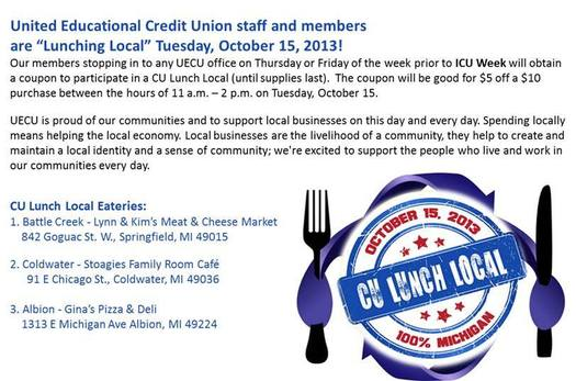 POSTER: Dozens of credit unions have teamed up to show their support for their communities in a day-long cash mob to benefit local businesses. Photo courtesy of United Educational Credit Union.