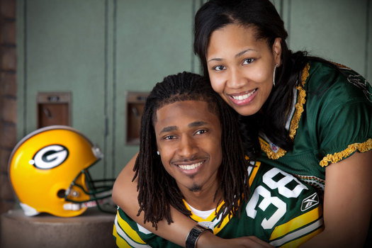 Packers star defensive back Tramon Williams and his wife, Shantrell, have organized a charity football game involving the Packers' wives to raise money to fight breast cancer. Photo courtesy of tramonwilliams-38.com