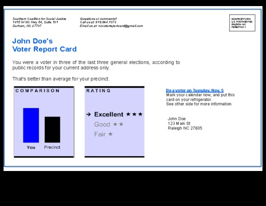 Photo: Sample Voter Report Card being sent to NC homes this week. Courtesy: Southern Coalition for Social Justice