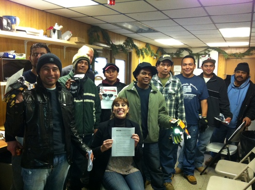 Photo: Day laborers at worker safety training session at the Freeport Trailer prior to Sandy. Credit: CoLoKi