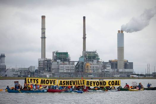 Photo: Beyond Coal campaign participants in front of the Duke coal-fired power plant in Asheville. Courtesy: Sierra Club