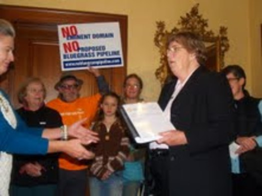 PHOTO: Environmental advocates and faith leaders, including Sister Claire McGowan, delivered thousands of petitions to the governor's office Tuesday, opposing a natural gas liquids pipeline project. Courtesy Kentuckians for the Commonwealth.