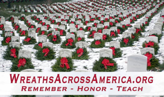PHOTO: A project that began more than 20 years ago honoring veterans at Arlington National Cemetery has made its way to Indiana. Photo: wreaths at Arlington National Cemetery. Courtesty: Wreaths Across America.