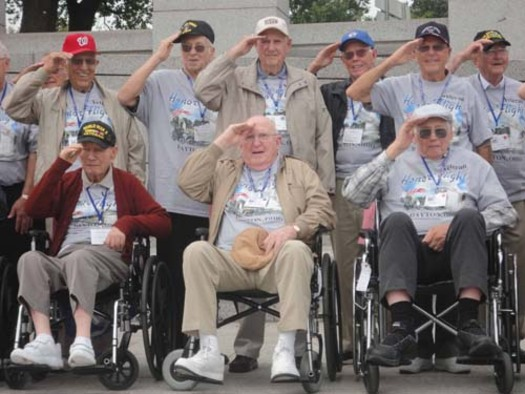 PHOTO: An estimated 1.2 million World War II veterans remain of the 16 million who served and a project launched in Ohio helps some make a long overdue trip. Courtesy Honor Flight Network.