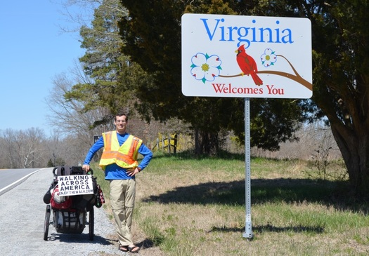 PHOTO: George Throop is making his way on foot through Pennsylvania, as part of a 4600-mile trek urging people to live healthier lives. Photo courtesy of Throop.