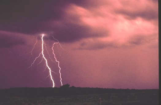 PHOTO:Witnessing a destructive storm and its aftermath can be a terrifying experience for a child and an expert has tips for parents to help their child understand the situation. Photo of lightning. Courtesy NOAA.