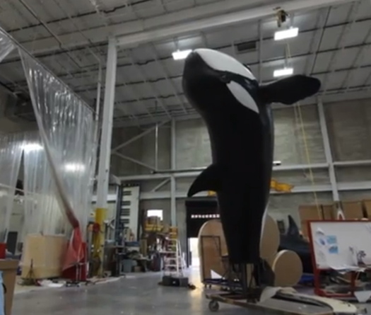 PHOTO: The SeaWorld parade float depicts orcas in the wild. Critics say it isn't representative of SeaWorld's handling of the animals in captivity.