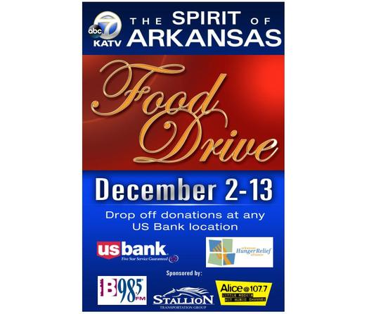 The Spirit of Arkansas food drive kicks off Mon., Dec. 2. Poster from Arkansas Hunger Relief Alliance.