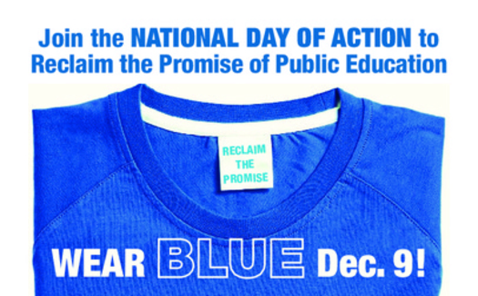"""ILLUSTRATION: Teachers, parents, and even some school officials will be wearing blue Monday to symbolize what they see as a sad situation in New York's public schools. It's part of a national """"day of action"""" around issues such as unequal funding and too much emphasis on testing. Courtesy NEA"""