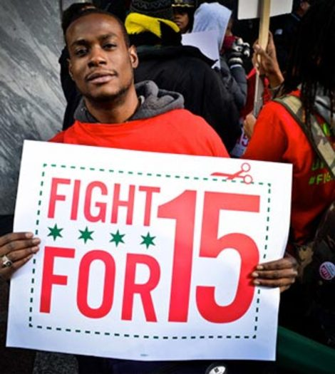 PHOTO: Fast-food workers in 100 other cities are demanding a $15-an-hour wage. wage. Photo courtesy of Fight for 15.