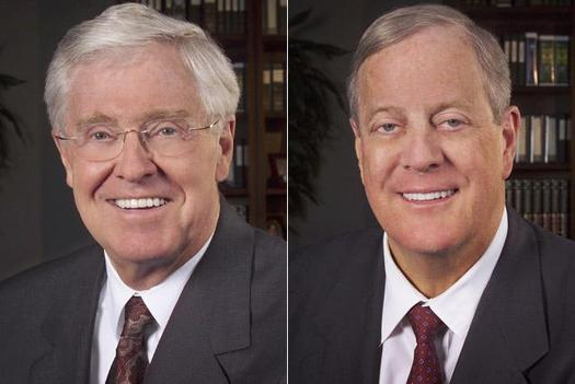Oil billionaire brothers Charles (L) and David Koch founded two so-called dark-money groups that are already pouring anonymous donations into political ads attacking Congressman Nick Rahall. PHOTO by CPI.