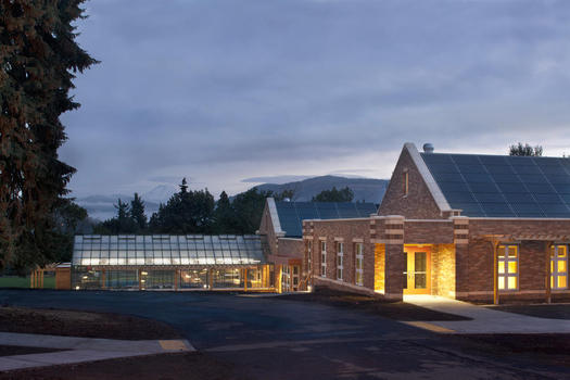"PHOTO: The science and music building at Hood River Middle School is one of a tiny but growing number of ""Zero Net Energy"" buildings, designed to make its own power and preserve resources. Photo courtesy American Institute of Architects."