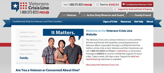 The Veterans Crisis Line connects Veterans in crisis and their families and friends with qualified, caring Department of Veterans Affairs responders through a confidential toll-free hotline, online chat, or text.