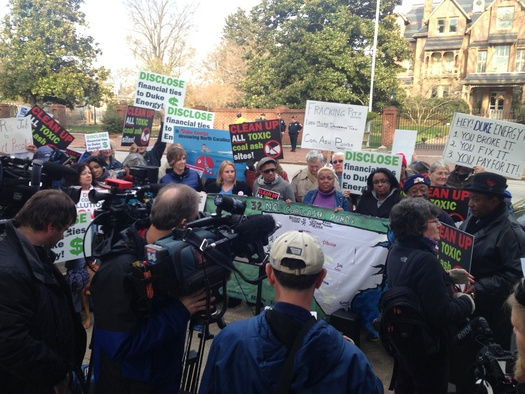 Photo: Citizens gather Wednesday in front of Governor's Mansion in Raleigh. Courtesy: Progress NC