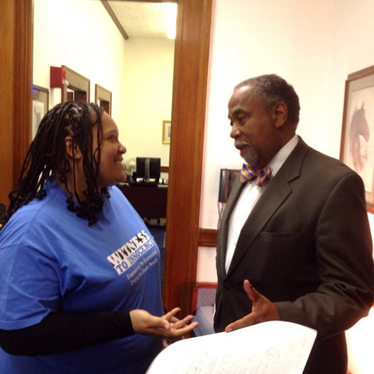 PHOTO: Former death row inmate Sabrina Butler talks with Sen. Gerald Neal sponsor of a bill to outlaw capital punishment in Kentucky. Photo courtesy Kentucky Coalition to Abolish the Death Penalty.