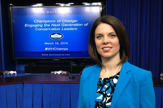 "PHOTO: Carrie Vollmer-Sanders of Indiana was honored as a ""Champion of Change"" by President Obama for her work with farmers to reduce agricultural runoff into Lake Erie. Photo credit: Ryan Sanders."