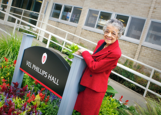 PHOTO: 90-year-old Wisconsin Civil Rights pioneer Vel Phillips is the keynote speaker at a daylong observation of the 50th anniversary of the 1964 Civil Rights act, at UW-Madison on Wednesday. (UW-Madison Law School photo)